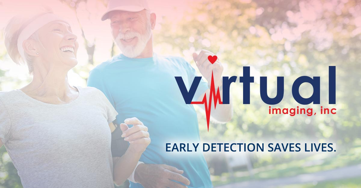 Virtual Imaging: Early Detection Saves Lives. Imagery of two elderly couples jogging outside and smiling.
